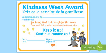 KS1 Kindness Week Certificate English/French  - Twinkl Kindness Week, kindness week, twinkl kindness week, kind resources, EAL French,French-transla