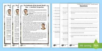 The Outbreak of the Second World War - A Scottish Perspective Differentiated Reading Comprehension Activity - Scotland, home front, clydebank Blitz, Clydeside, Scapa Flow, HMS Royal Oak,Scottish, worksheets