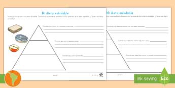 Ficha de actividad: La pirámide de la dieta saludable - escritura, la alimentación, alimentación balanceada, pirámide de la alimentación, español, span