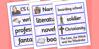 CS Lewis Word Cards - CS Lewis, word cards, topic cards, themed word cards, themed topic cards, key words, key word cards, keyword, writing aid, writing