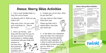 Twinkl Move - Year 1 Dance: Starry Skies Home Learning Tasks - Dance Starry Skies, PE, Dance, Key Stage 1, KS1, Fireworks, Streamer, Movement, Year 1, Y1, Exercise