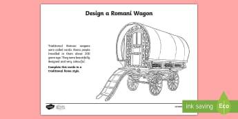 Design a Romani Caravan Activity Sheet - KS1 GRTHM, Gypsy, Roma, Traveller History Month, caravan, design a caravan, vardo, Romany, Romani, R