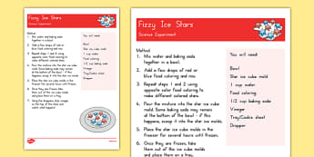 Fizzy Ice Stars Science Experiment - 4th of July activities, fizzy, ice, stars, science experiment