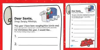 Letter to Santa Present List Polish - English / Polish - Letter to Santa Present List Writing Template - letter, santa, present, list, father christmas, sant