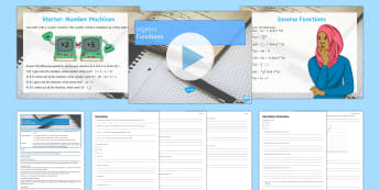 Functions Lesson Pack - Inverse, Inputs, Outputs, Algebra, f(x), rearranging, subject