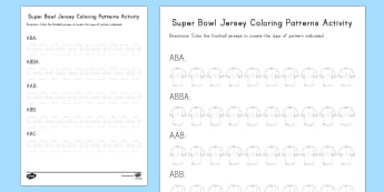 Super Bowl Jersey Coloring Patterns Activity - Super Bowl, Patterns, repeating pattern