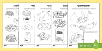 Healthy Eating Colouring Pages English/Spanish -  healthy eating, food groups, healthy menu,colering,colourng, couloring, healthy eatng, EAL,