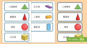 立体图形卡片 - 立体图形卡片,立体图形名称。