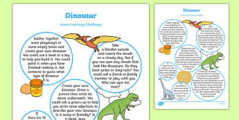 Dinosaurs Home Learning Challenge Sheet Reception FS2