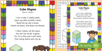 Cube Rhyme - 3d, maths, shape space and measure, square, oblong, singing, song time