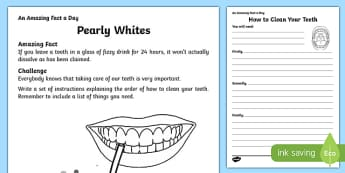Pearly Whites Activity Sheet, worksheet