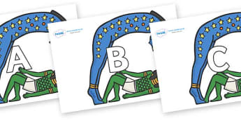 A-Z Alphabet on Egyptian Characters - A-Z, A4, display, Alphabet frieze, Display letters, Letter posters, A-Z letters, Alphabet flashcards