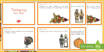 Thanksgiving Fact Cards