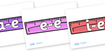 Modifying E Letters on Rulers - Modifying E, letters, modify, Phase 5, Phase five, alternative spellings for phonemes, DfES letters and Sounds