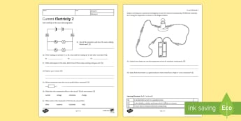 KS3 Current Electricity 2 Homework Activity Sheet - Homework, electricity, current, voltage, potential difference, series, parallel, worksheet, resistan
