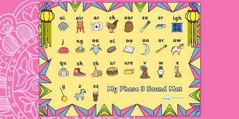 Diwali Themed Phase 3 Sound Mat - diwali, phase 3, phase three, sound mat, phase 3 sound mat, diwali sound mat, themed sound mat, phonics, letters and sounds