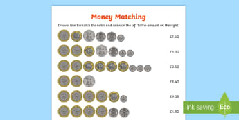 UK Money Matching Activity Sheet - GBP currency, money, coins, maths, worksheet, activity sheet, matching, money, counting, coin, pound