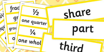 Year 2 2014 Curriculum Fractions Vocabulary Cards - math, fraction