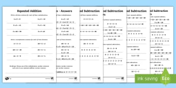 Year 2 Maths Repeated Addition and Subtraction Homework Activity Sheet - year 2, maths, homework, multiplication, division, repeated addition, repeated subtraction, related