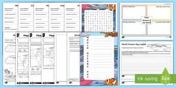 World Oceans Day Second Level  Activity Pack - CfE World Oceans Day (8th June), Oceans Day, Oceans of the World, Scottish events, June global days,