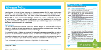 Allergen Policy for Childminders - childminders, allergen, child