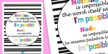Nothing Is Impossible Motivational Poster Spanish Translation