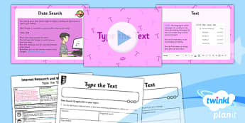 PlanIt - Computing Year 5 - Internet Research and Webpage Design Lesson 3: Type the Text Lesson Pack - planit, computing