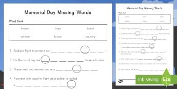 Memorial Day Missing Words Activity Sheet - Memorial Day Worksheet, Soldiers, USA, veterans , worksheet,