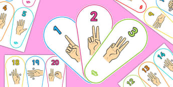 British Sign Language 0-20 Number Fan (Signer's View) - number fan, sign language