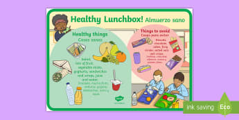 Healthy and Unhealthy Lunchbox Display Poster English/Spanish - Healthy and Unhealthy Lunchbox Food Poster - lunchbox, poster, EAL,
