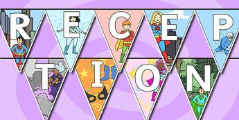 Welcome to Reception Bunting Superhero Themed - reception, welcome to reception, bunting, themed bunting, display bunting, bunting flags, flag bunting