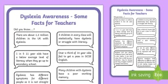 Dyslexia Awareness Facts Display Poster - Dyslexia, Signs and indications, sEN, Support, Guidance, facts, SpLd