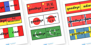 Goodbye Languages On Flags - Goodbye sign, flag, flags, adios, adeus, auf Wiedersehen, au revoir, bye, language, different languages