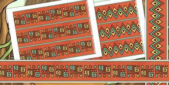 Mayan Civilization Themed Border Pieces - mayan display, mayans