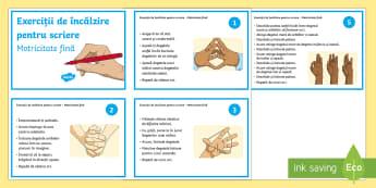 Exerciții de încălzire pentru scriere Cartonașe - română, materiale, scriere, exerciții motricitate fină, încălzirea mușchilor mici ai mâinii,