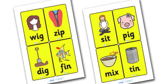 CVC Word Cards I for Visually Impaired - CVC, word, cards, word cards, I, visually, impaired, visually impaired, vowels