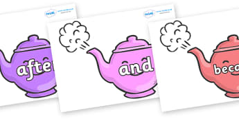 Connectives on Teapots - Connectives, VCOP, connective resources, connectives display words, connective displays