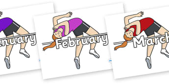 Months of the Year on High Jump - Months of the Year, Months poster, Months display, display, poster, frieze, Months, month, January, February, March, April, May, June, July, August, September