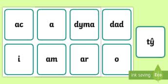 Cardiau Fflach Geiriau Aml-Uchel Cam 1 - darllen, sillafu, 100 gair, allweddol, key words, ,Welsh-translation