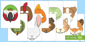 Pets Role Play Masks - EYFS, Early Years, Pets, Animals, National Pet Month, cat, dog, rabbit, Expressive Arts and Design,