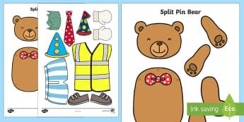 Split Pin Bear Activity - bear, teddy bear, split pins, games