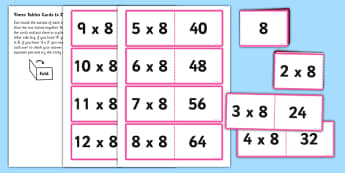 8 Times Table Folding Cards - times table, times tables, multiply, cards, 8, numbers