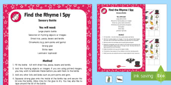 Find the Rhyme I Spy Sensory Bottle - Phase 1, Aspect 4, Rhythm and Rhyme, letters and sounds, phonics, rhyming, discovery bottle, rhyme