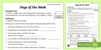 Days of the Week Activity Sheet - amazing fact august, mathematics, time, KS1, counting on and back, worksheet