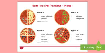 Pizza Topping Fractions Menu Activity Sheet - Pizza Fractions Activity Sheets Halves Quarters and Thirds - fractions, frctions, harves, frations,