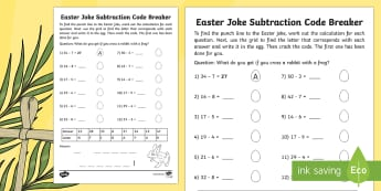 Easter Joke Subtraction Code Breaker Activity Sheet - NI, Easter, joke, code, breaking, numeracy, subtraction, bridging, digit, easter, subtract, fun math