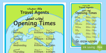 Travel Agents Opening Times Role Play Sign Arabic/English  - Travel Agents, Opening Times, holiday, role play, open, closed, EAL, Arabic