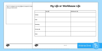 KS2 My Life or Workhouse Life Comparison Go Respond Activity Sheets - KS2 Workhouses, workhouse life, compare, modern life, 1800s, Victorian life, poverty, paupers, child
