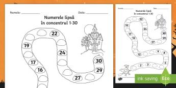 Numerele lipsă spre casa cea ciudată în concentrul 1 30 Fișă de activitate - Halloween, matematică, numerație, ordonarea numerelor, numărare crescător, vecinii numerelor, ac