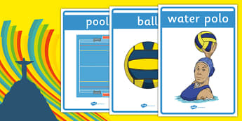 The Olympics Water Polo Display Posters - Water Polo, Olympics, Olympic Games, sports, Olympic, London, 2012, display, banner, poster, sign, activity, Olympic torch, events, flag, countries, medal, Olympic Rings, mascots, flame, compete